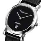 BESTDON BD9951G Men's Waterproof Leather Band Quartz Watch - Silver