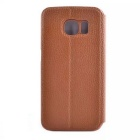 Litchi Grain PU Case w/ Card Slots & Stand for Samsung S6 Edge - Brown