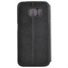 Litchi Grain PU Case w/ Card Slots & Stand for Samsung S6 Edge - Black