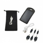 Outdoor Camping 5000mAh Solar Power Bank w/ LED Light - Black