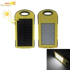 Outdoor Camping Solar Powered 5000mAh Power Bank w/ LED  Light for IPHONE, Samsung, Xiaomi - Yellow