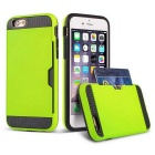 R-JUST Protective TPU + PC Case w/ Card Slot for IPHONE 6 PLUS - Grass Green + Black