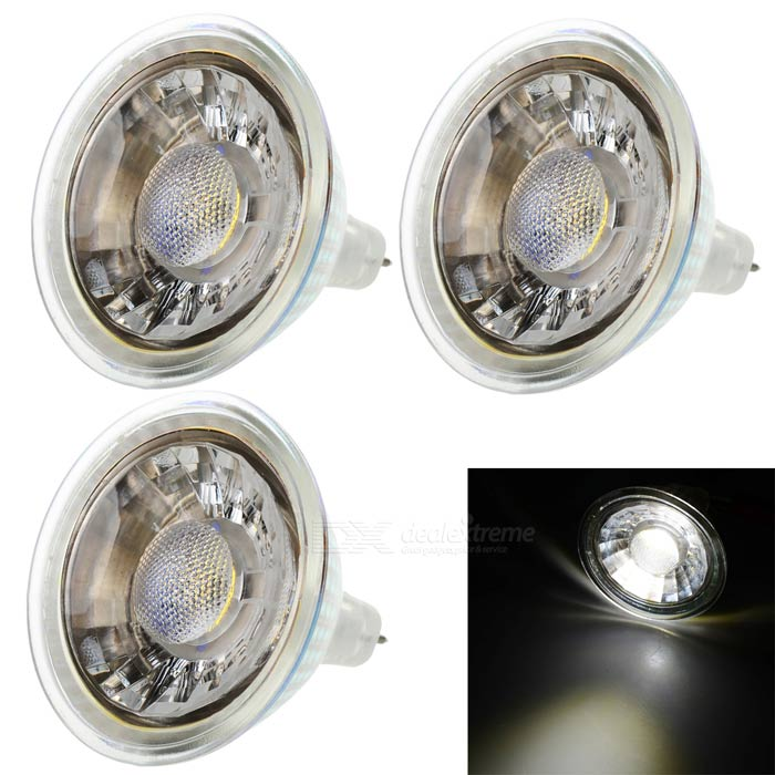 12V MR16 3W 250lm Warm White Quartz Glass COB Spotlight (3PCS)