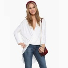 Sexy Deep V Neck Crossed Long Batwing Sleeves Loose T-Shirt Top for Women - White (Size L)