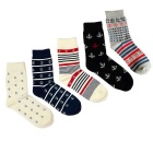 Men's Anchor Pattern Socks (Size 40~44 / 5 Pairs)