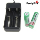 FandyFire US Battery Charger + 3.7V 2000mAh 18650 Rechargeable Battery w/ No-protective Board