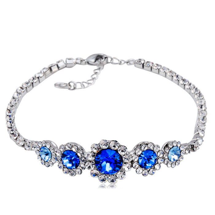 Xinguang Full Diamond Blue Crystal Bracelet - Silver