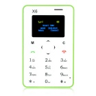 "AIEK X6 Quad Band 4.5mm Ultra Thin Pocket Mini Card Mobile Phone w/ 1.4"" Screen / FM - Green"