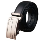 Fanshimite Men's Geometric Pattern Auto Buckle Leather Belt - Black