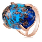 Underwater World Style Sapphire Crystal Inlaid Finger Ring for Women - Gold (US Size 8)