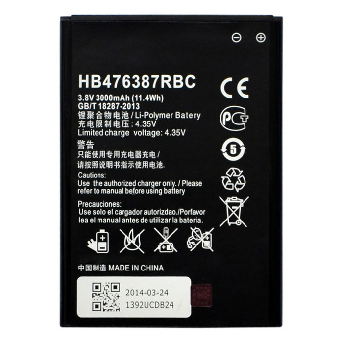 HB476387RBC 2500mAh Battery for HUAWEI Honor 3x G750 / B199 - Black