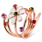 Oil Painting Plum Colorful Crystals Inlaid Ring - Rose Gold (US Size 8)