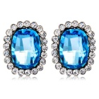 Oval Blue Crystal Earrings - Silver (Pair)