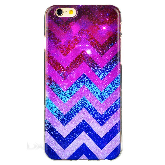 Wave Pattern TPU Back Case for IPHONE 6S - Purple Red + Transparent