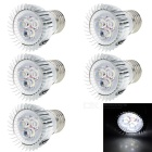E27 3W LED Bulb Spotlight Cool White Light - White + Silver (5PCS)