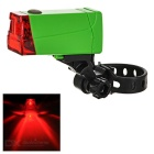 Leadbike Red Light LED 2-Mode Bicycle Warning Tail Lamp - Black + Green (2 x AAA)