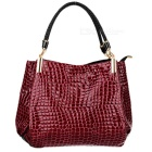 Pu Leather Crocodile Pattern Single Shoulder Bag Handbag - Red