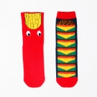 Unisex Hamburger & French Fries Pattern Socks - Red + Multicolored (Size 39~43 / 2 Pairs)