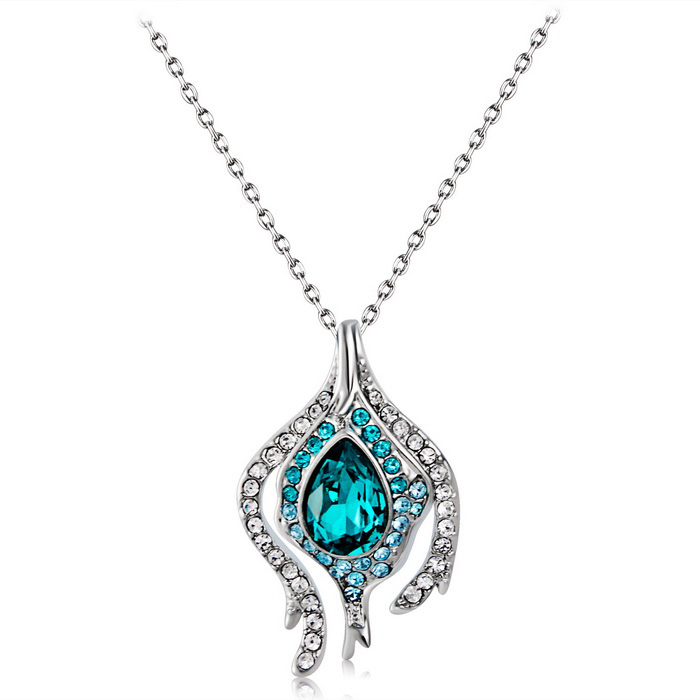 Xinguang Magic Pear Shaped Green Crystal Necklace -Silver