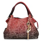 Classic Fashion Tote Handbag PU Leather Shoulder Bag for Women - Red