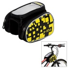 "B-SOUL Water-Resistant Bike Top Tube Saddle Bag w/ Touch Screen Case for  5.5"" Phone - Black +Yellow"
