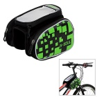 "B-SOUL Water-Resistant Bike Top Tube Saddle Bag w/ Touch Screen Case for  5.5"" Phone - Black + Green"