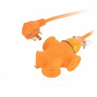 16A 4000W 3-Flat-Pin Plug + 2-Flat-Pin Plug Power Socket - Orange (125~250V)