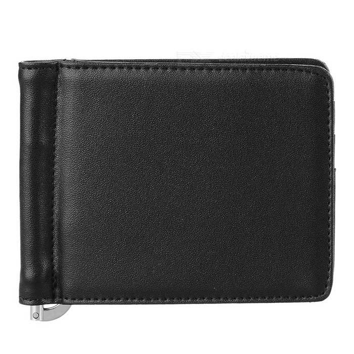 JIN BAO LAI Unisex Fashion Leather Wallet w/ Money Cash Clip - Black