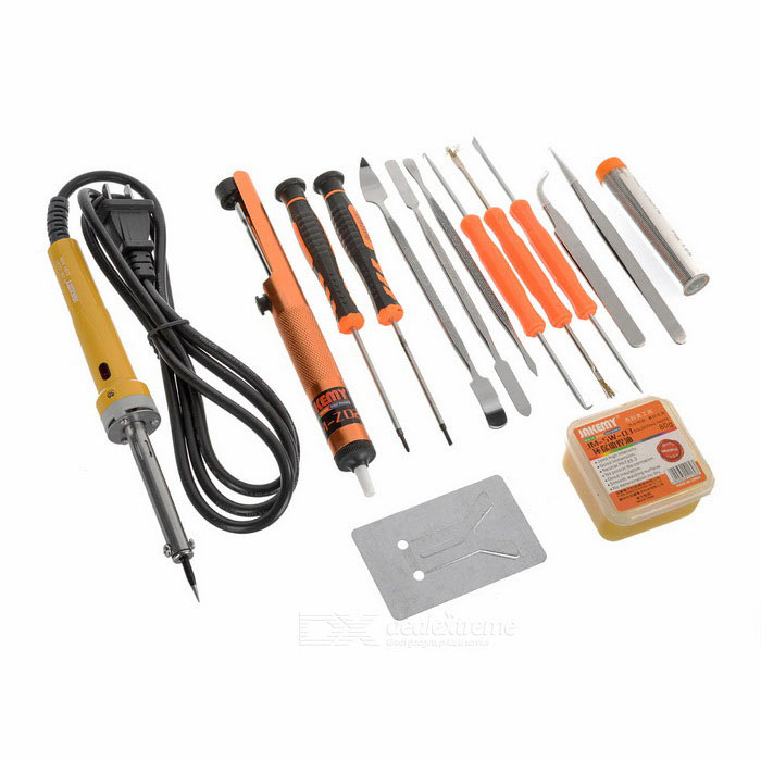 Jakemy JM-P03 Primary Electric 30W DIY Welding Soldering Tool SetSoldering Supplies<br>Form  ColorOrange + Black + Multi-ColoredPower30WModelJM-P03Quantity1 DX.PCM.Model.AttributeModel.UnitMaterialCR-V alloy steel + 600D oxfordInput Voltage220 DX.PCM.Model.AttributeModel.UnitPower AdapterUS PlugsPacking List1 x 30W electric soldering iron (wire length: 142+/-2cm)1 x Desoldering pump1 x Soldering pen 1 x Soldering assist oil1 x Curved tip tweezer 1 x Long tip tweezer 1 x Simple type soldering iron stand 1 x Soldering bit cleaning sponge 6 x Soldering assist tools2 x Precision screwdrivers1 x Chinese &amp; English user manual1 x Protective bag<br>