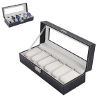 6 Cell A-word Lock Leather Wrist Watch Box Display Storage Organizer Windowed Case  - Black