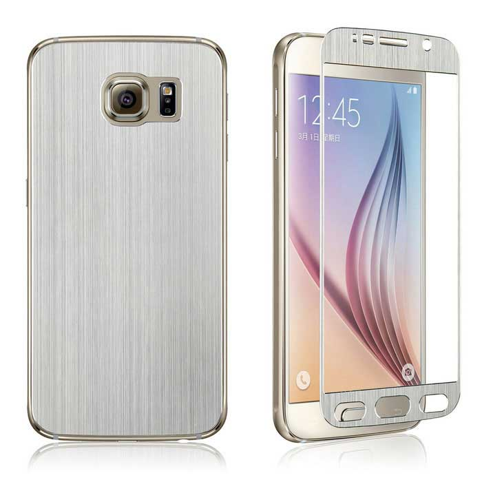 Wiredrawing Glass Film + Back Guard for Samsung S6 G920 - Silver