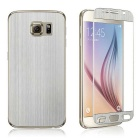 Wiredrawing Tempered Glass Screen Protector + Back Guard Set for Samsung Galaxy S6 G920 - Silver