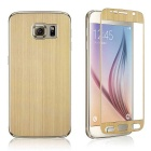 Wiredrawing Tempered Glass Screen Protector + Back Guard Set for Samsung Galaxy S6 G920 - Golden