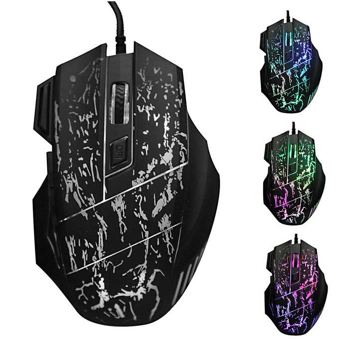 3200DPI Adjustable 7-Button Optical USB Wired Gaming Mouse - Black