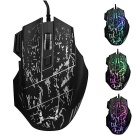 3200DPI Adjustable 7-Button Running River Pattern Optical USB Wired Gaming Mouse - Black