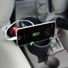 WF-066 3-USB Port Car Charger / Phone Holder / Ashtray - Black + Green