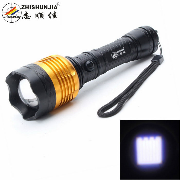 ZHISHUNJIA FB001-T6 5-Mode White Zooming Flashlight - Black + Golden