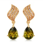 Bright Green Crystal Earrings - Golden (Pair)