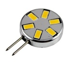 G4 3W LED Circular Corn Lamp Warm White Light 6-SMD - Silver + Black