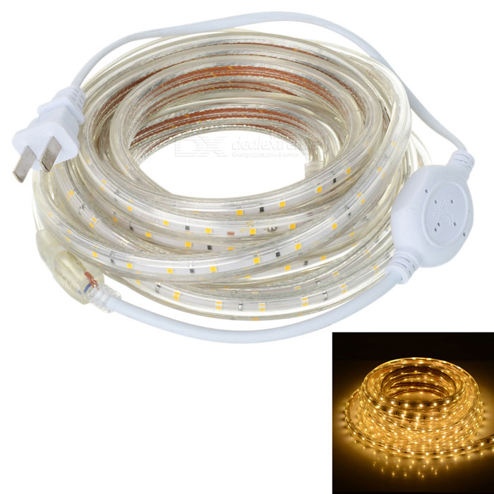 36W LED Light Strip Warm White 3300K 300-SMD - White (US Plugs / 5m)
