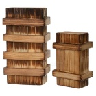 Educational Magic Wooden Puzzle Trick Boxes Set w/ Extra Secure Secret Drawers - Wood Color