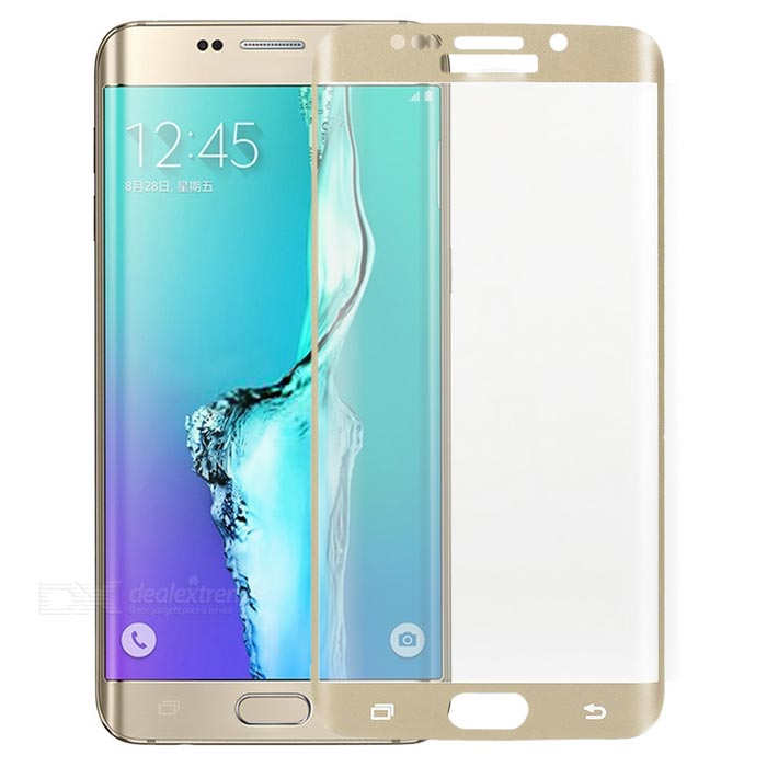 S-What 3D Arc Full Cover Tempered Glass Screen Protector Guard for Samsung S6 Edge Plus - Gold