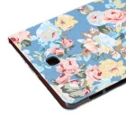 Cloth Grain PU Leather Case w/ Stand for Samsung Tab S2 8.0 - Blue