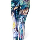 Cheshire Cat + Girl Pattern Pencil Feet Leggings - Green + Multicolor