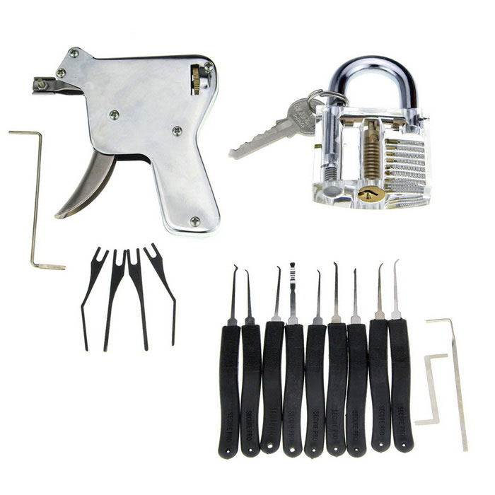 Manual Lock Opening Gun Tool + Training Lock + Nine Compact Keys Set