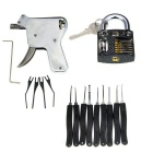 Manual Lock Opening Gun Tool + Philips Slotted Pratice Padlock + Nine Compact Keys Tool