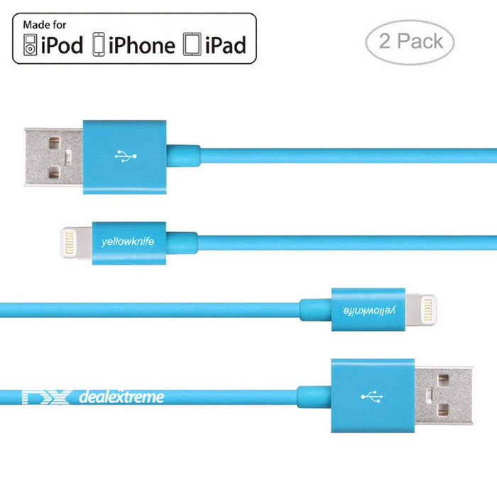 Relámpago del yellowknife 8pin al cable del USB para IPHONE 6 - azul (2PCS, 1m)