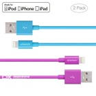 Yellowknife MFi 8pin Lightning to USB Cable for IPHONE 6 / 6S PLUS - Purple + Blue (2 PCS / 1.0m)