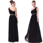 High Quality One-Shoulder Thin-Waist Chiffon Long Paragraph Banquet  Evening Dress - Black (L)
