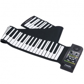 88 Key Electronic Silicone Flexible Roll Up Piano Keyboard - Black